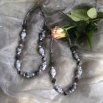 Art.-Nr. 435 Obsidian, Onyx, Hämatit, versilberte