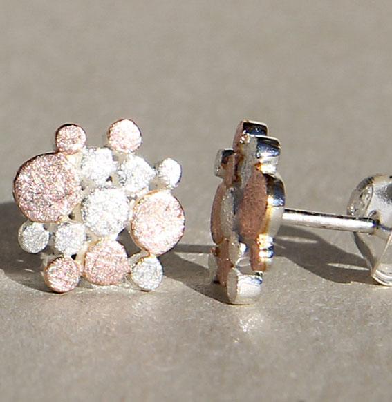 Art.-Nr. Ca-E1460A Ohrstecker bicolour rosé klein| Up and Down, 10mm, 47,00€