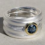 Art.-Nr. CA- RS1589TL Silberring mit Topas london blue, 6 mm facettiert | Wickel, 139,00€