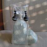 Art.-Nr. 525-O, Matte Onyxkugel, 14mm, Onyxlinsen, Hämatit, Ohrhaken und Stift aus 925-Sterling Silber, 19,90€