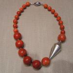 Art.-Nr. 603 Polierte Schaumkoralle Ø 24+14mm, Zwischenteile und Magnetverschluss aus 925 Sterling Silber, 129,00€