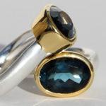 Art.-Nr. Ca-RS1201TL Silberring mit vergoldeter Fassung, London blue Topas, 14x10mm, 498,00€