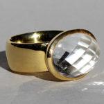 Art.-Nr. Ca-RS1363B Silberring vergoldet | Elise mit Bergkristall 18x13mm, reduziert!123,00€
