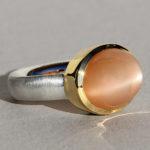 Art.-Nr. Ca-RS1201MO Silberring mit vergoldeter Fassung, Mondstein orange, 16x12mm, 125,00€