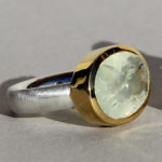 Art.-Nr. Ca-RS1201PR Silberring mit vergoldeter Fassung, Prehnit 14x10mm, 125,00€