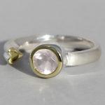 Art.-Nr. Ca- RS1377Q Silberring teilvergoldet | Open Heart, 6 mm fac. Rosenquarz, 84,90€