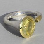 Art.-Nr. Ca- RS1375L Silberring teilvergoldet | Open Swirll, Lemonquarz, 10mm, 147,00€