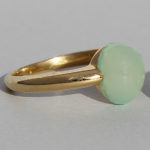 Art.-Nr. Ca- RS1380CH Silberring vergoldet | Pear, 8x10 mm Aqua Chalcedon, 86,90€