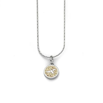 """Art.-Nr. DUR-K2381 Feine Haferkornkette """"Freiheit"""", rhodiniert mit einem runden, in Strandsand gebettete Möwe, aus poliertem und rhodiniertem 925er Sterling-Silber, ca. 42 cm lang, 53,90€"""