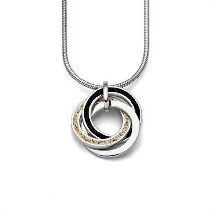"""Art.-Nr. DUR-P3135 Anhänger """"Marina"""" aus rhodiniertem 925er Sterling-Silber, bestehend aus 3 ineinander verschlungenen Ringen, gefüllt mit Strandsand, Lavasand und Silber, 62,90€"""