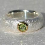 Art.-Nr. Ca-RS1282P Silberring teilvergoldet mit Peridot,Silberring 8 mm, Peridot 5 mm, 124,90€