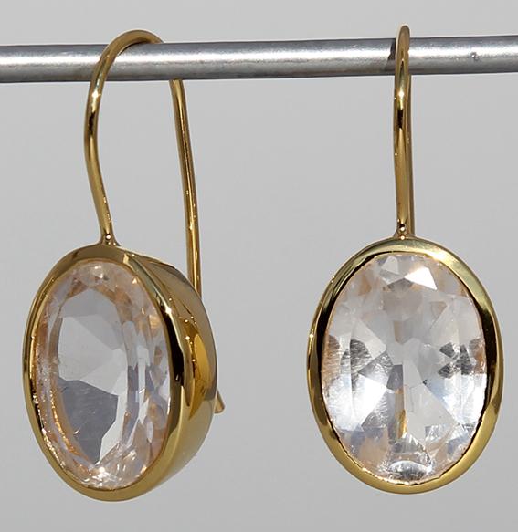 Art.-Nr. Ca- ES1201B Silberohrhänger vergoldet mit Bergkristall, ca. 14x10 mm fac.Bergkristall, 119,00€