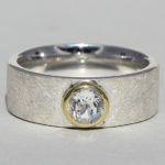 Art.-Nr. Ca- RS1614TW Silberring teilvergoldet mit Topas weiß | Alwa big, Ø5mm fac., 87,90€