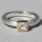 Art.-Nr. Ca-RS1600Q Silberring teilvergoldet mit Rosenquarz | Strack big, 5x5mm fac, 79,00€