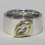 Art.-Nr. Ca- RS1607G Silberring teilvergoldet mit Prasiolith | Mathilda, 10x5mm fac,, 115,00€