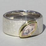 Art.-Nr. Ca- RS1607Q Silberring teilvergoldet mit Rosenquarz | Mathilda, 10x5mm fac, 115,00€