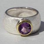 Art.-Nr. Ca- RS1627Z Silberring teilvergoldet mit Amethyst | Golan rund, Ø8mm, 139,00€