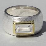 Art.-Nr. Ca- RS1625B Silberring teilvergoldet mit Bergkristall | Gandall, 5x10mm, 139,00€