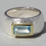 Art.-Nr. Ca- RS1625T Silberring teilvergoldet mitTopas | Gandall, 5x10mm, 145,00€