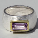 Art.-Nr. Ca- RS1625Z Silberring teilvergoldet mit Amethyst | Gandall, 5x10mm, 139,00€