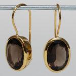 Ca-ES1201R Silberohrhänger vergoldet mit Rauchquarz, ca. 14x10 mm fac. Rauchquarz, 125,00€