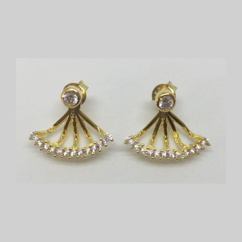 Art.-Nr. Lo-ES-E-02-131-024 Ohrringe 'Fächer' mit Zirkonia, 16 mm, 925 Sterling Silber, vergoldet,44,90€
