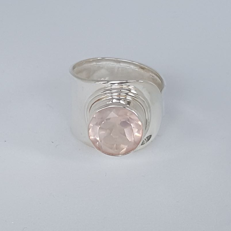 r-lo-01-009-006rq Rosenquarz, Cabochon, verstellbar, Steingröße: 12mm, gefaßt in 925er Sterlingsilber, 29,00