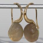 Art.-Nr. Ca-ES1380MG Silberohrhänger vergoldet | Pear mit Mondstein grau 8x10 mm Mondstein grau, 119,00€