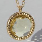 Art.-Nr. Ca- CS1631L Silbercollier vergoldet mit Lemonquarz | Spring Sparkle 12 mm fac. Lemonquarz mit 45 cm Kette, 135,00€