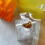 Art.-Nr. PC R-2 Silberring gebürstet, Fassung vergoldet, Turmalin, Diamant, Unikat! Gr. 60, 69,00€