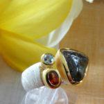 Art.-Nr. PC R-6 Silberring gebürstet, Fassung vergoldet, Opal, Turmalin, Diamant, Unikat!, Gr. 56, 159,00€