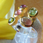 Art.-Nr. PC R-8 Silberring gebürstet, Fassung vergoldet, Turmaline, Unikat!, Gr. 58, 159,00€